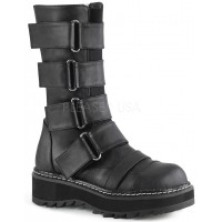Lilith Black Wide Strap Mid-Calf Boots