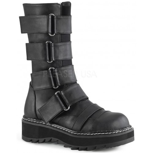 Lilith Black Wide Strap Mid-Calf Boots at ShoeOodles Shoes for Women, Men and Children,  Oodles of Shoes for Men, Women & Children