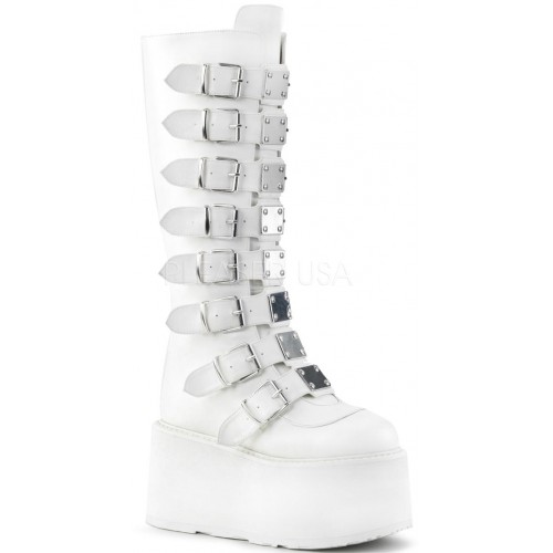 Damned White Gothic Knee Boots for Women at ShoeOodles Shoes for Women, Men and Children,  Oodles of Shoes for Men, Women & Children