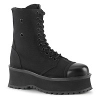 Gravedigger Mens Black Canvas Ankle Boots