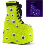 Slay Lime Green Googly Eye Platform Boots at ShoeOodles Shoes for Women, Men and Children,  Oodles of Shoes for Men, Women & Children