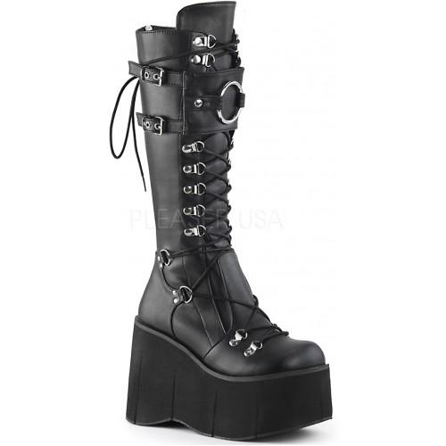 Kera Black Platform Knee High Buckled Boots at ShoeOodles Shoes for Women, Men and Children,  Oodles of Shoes for Men, Women & Children