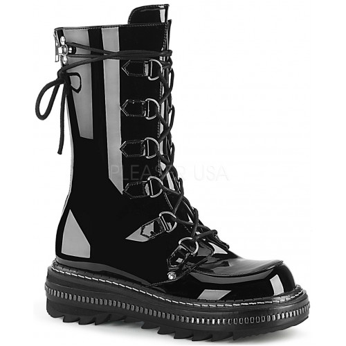 Lilith Metal Trimmed Mid-Calf Womens Black Patent Boot at ShoeOodles Shoes for Women, Men and Children,  Oodles of Shoes for Men, Women & Children
