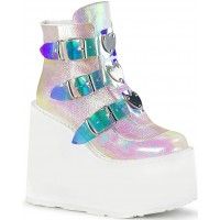 Pearl White Iridescent Platform Wedge Ankle Boots