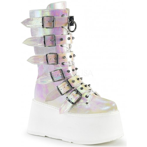Damned Pearl Shimmer Buckled Boots for Women at ShoeOodles Shoes for Women, Men and Children,  Oodles of Shoes for Men, Women & Children