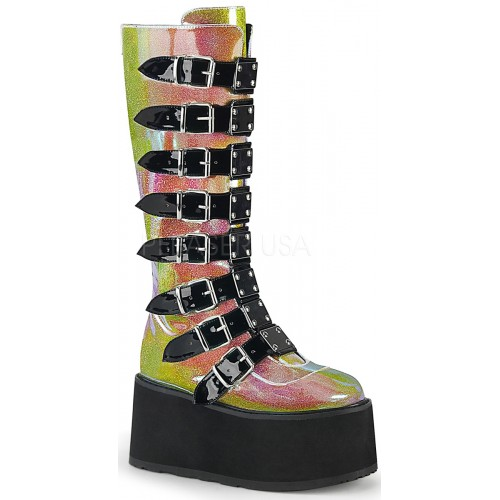 Damned Shimmering Pink Glitter Knee Boots at ShoeOodles Shoes for Women, Men and Children,  Oodles of Shoes for Men, Women & Children