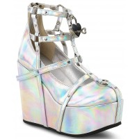 Heart Charm Poison Hologram Cage Wedge Gothic Shoe