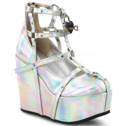 Heart Charm Poison Hologram Cage Wedge Gothic Shoe ShoeOodles Shoes for Women, Men and Children  Oodles of Shoes for Men, Women & Children