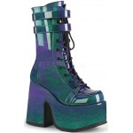 Purple-Green Patent Platform Chunky Heel Boots at ShoeOodles Shoes for Women, Men and Children,  Oodles of Shoes for Men, Women & Children