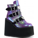 Purple Iridescent Platform Wedge Ankle Boots at ShoeOodles Shoes for Women, Men and Children,  Oodles of Shoes for Men, Women & Children