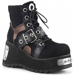 Scene Wedge Platform Grommet Fishnet Ankle Boots ShoeOodles Shoes for Women, Men and Children  Oodles of Shoes for Men, Women & Children