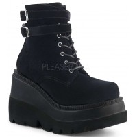 Shaker 52 Black Velvet Stacked Wedge Ankle Boot