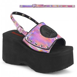 Skull and Crossbone Pink Hologram Platform Convertible Mule ShoeOodles Shoes for Women, Men and Children  Oodles of Shoes for Men, Women & Children