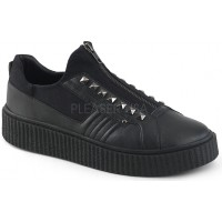 Zipped Black Studded Gothic Low Top Sneaker