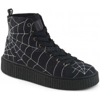 Spiderweb Black Canvas High Top Sneaker