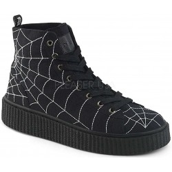 Spiderweb Black Canvas High Top Sneaker ShoeOodles Shoes for Women, Men and Children  Oodles of Shoes for Men, Women & Children