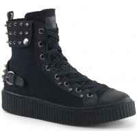 Studded Black Canvas High Top Sneaker