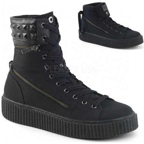 Removable Cuff Black Canvas High Top Sneaker at ShoeOodles Shoes for Women, Men and Children,  Oodles of Shoes for Men, Women & Children