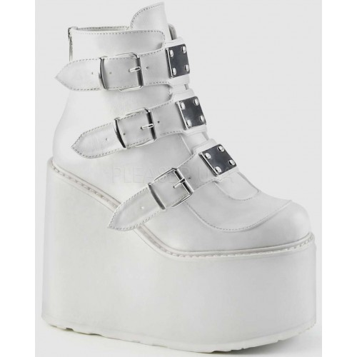 White Swing 105 Platform Wedge Ankle Boot at ShoeOodles Shoes for Women, Men and Children,  Oodles of Shoes for Men, Women & Children