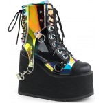 Hologram Bondage Strap Black Gothic Ankle Boots at ShoeOodles Shoes for Women, Men and Children,  Oodles of Shoes for Men, Women & Children