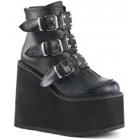 Black Faux Leather Swing 105 Platform Ankle Boot