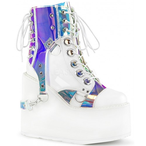 Hologram Bondage Strap White Gothic Ankle Boots at ShoeOodles Shoes for Women, Men and Children,  Oodles of Shoes for Men, Women & Children