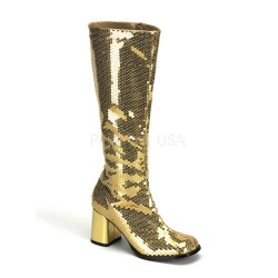 Spectacular Gold Sequin Covered Gogo Boots ShoeOodles Shoes for Women, Men and Children  Oodles of Shoes for Men, Women & Children