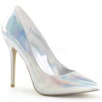 Amuse Silver Hologram 5 Inch High Heel Pump