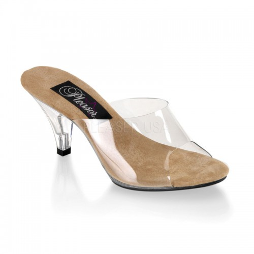 Belle Clear and Tan Peep Toe Slide at ShoeOodles Shoes for Women, Men and Children,  Oodles of Shoes for Men, Women & Children