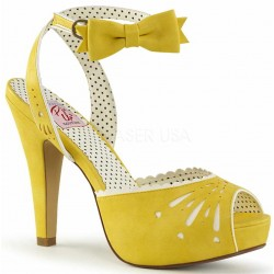 Vintage Bettie Yellow Ankle Bow Peep Toe Pump ShoeOodles Shoes for Women, Men and Children  Oodles of Shoes for Men, Women & Children