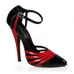 Domino High Heel Red and Black D-Orsay Pump ShoeOodles Shoes for Women, Men and Children  Oodles of Shoes for Men, Women & Children