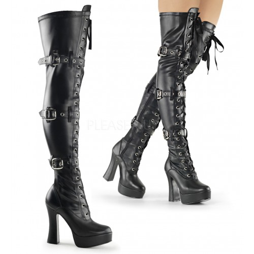 Electra Black Buckled Thigh High Platform Boots at ShoeOodles Shoes for Women, Men and Children,  Oodles of Shoes for Men, Women & Children