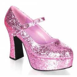 Baby Pink Mary Jane Glitter Square Heeled Pump ShoeOodles Shoes for Women, Men and Children  Oodles of Shoes for Men, Women & Children
