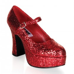 Red Mary Jane Glitter Square Heeled Pump ShoeOodles Shoes for Women, Men and Children  Oodles of Shoes for Men, Women & Children