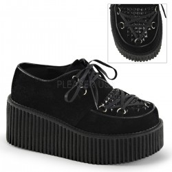 Black Faux Suede Studded Womens Creeper ShoeOodles Shoes for Women, Men and Children  Oodles of Shoes for Men, Women & Children