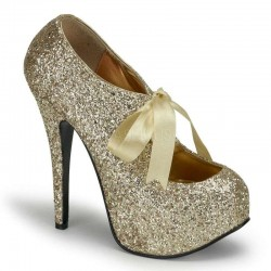 Teeze Gold Glittered Platform Pump ShoeOodles Shoes for Women, Men and Children  Oodles of Shoes for Men, Women & Children