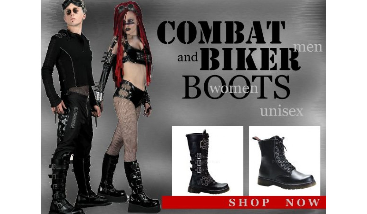 Combat boots, biker boots, motorcycle boots for men and women