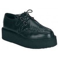 Black Leather Mens Creeper Loafer