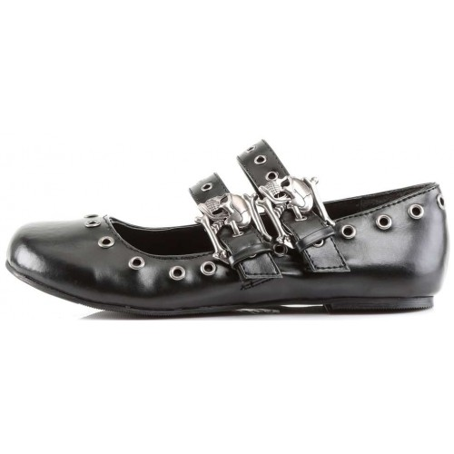 Skull Buckle Mary Jane Flat Gothic Shoes at ShoeOodles Shoes for Women, Men and Children,  Oodles of Shoes for Men, Women & Children