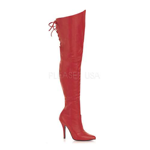 Legend Red Lace up Back Leather Thigh High Boot