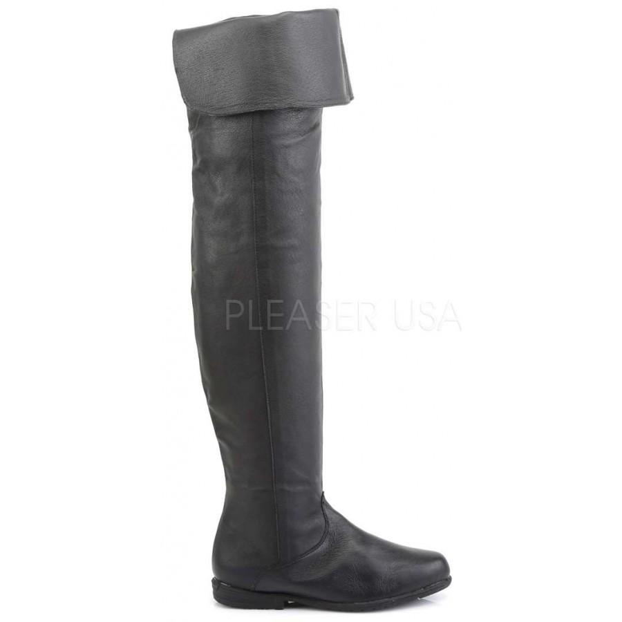 Maverick Unisex Flat Thigh High Pirate Boot - Thigh High Boots