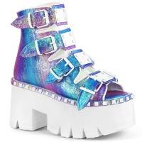 Ashes Womens Purple Iridescent Platform Sandal