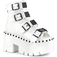 Ashes Womens White Platform Sandal