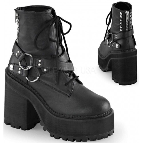 Assault Wrapped Block Heel Womens Combat Boot at ShoeOodles Shoes for Women, Men and Children,  Oodles of Shoes for Men, Women & Children