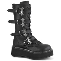 Emily Black Bat Buckled Boots for Women