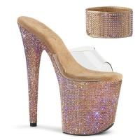 Bejeweled Rose Gold 8 Inch High Platform Sandal