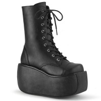 Violet Black Lace-Up Boots for Women