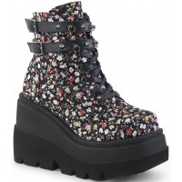 Shaker 52 Floral Print Womens Wedge Ankle Boot
