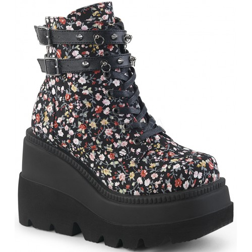 Shaker 52 Floral Print Womens Wedge Ankle Boot at ShoeOodles Shoes for Women, Men and Children,  Oodles of Shoes for Men, Women & Children