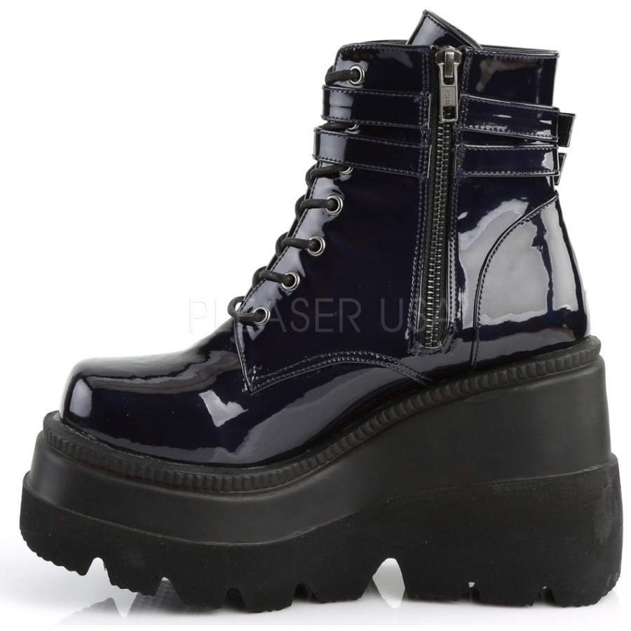 b62b019643e Shaker 52 Lace Up Front Stacked Wedge Ankle Boot - Gothic Ankle ...